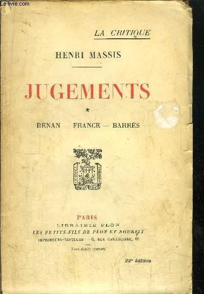 JUGEMENTS - TOME I - RENAN - FRANCE - BARRES