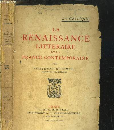 LA RENAISSANCE LITTERAIRE DE LA FRANCE CONTEMPORAINE