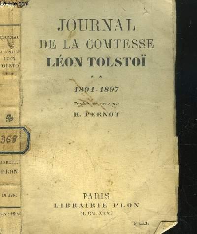 JOURNAL DE LA COMTESSE LEON TOLSTOI- TOME II - 1891-1897