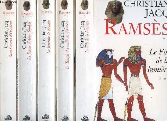RAMSES- 5 VOLUMES - TOMES I+II+III+IV+V - LE FILS DE LA LUMIERE - LE TEMPLE DES MILLIONS D'ANNEES - LA BATAILLE DE KADESH - LA DAME D'ABOU SIMBEL - SOUS L'ACCACIA D'OCCIDENT