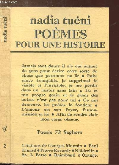 POEMES POUR UNE HISTOIRE - COLLECTION POESIE 72 SEGHERS N°2