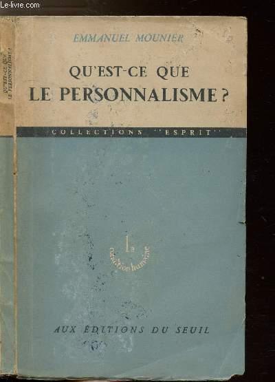 QU'EST-CE QUE LE PERSONNALISME ? - COLLECTIONS ESPRIT