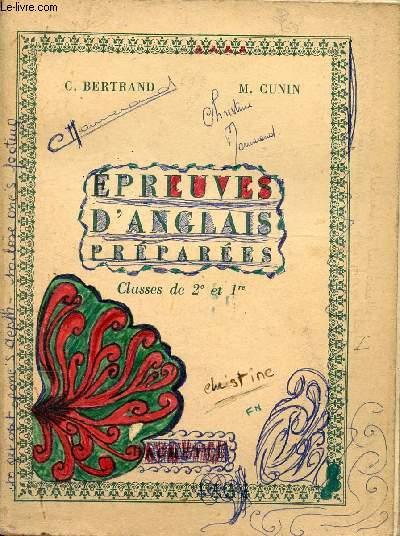 EPREUVES D'ANGLAIS PREPAREES CLASSES DE 2e ET 1re