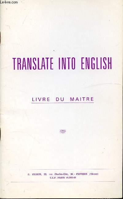 TRANSLATE INTO ENGLISH - LIVRE DU MAITRE