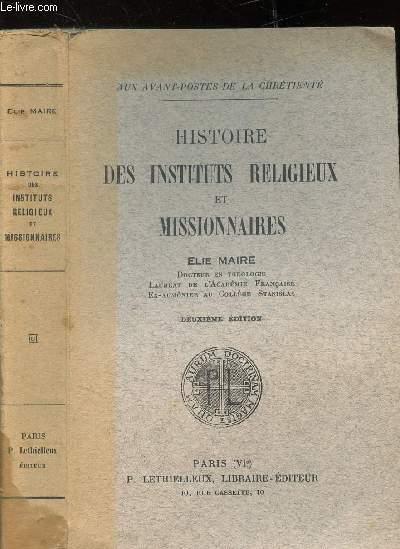 HISTOIRE DES INSTITUTS RELIGIEUX ET MISSIONNAIRES