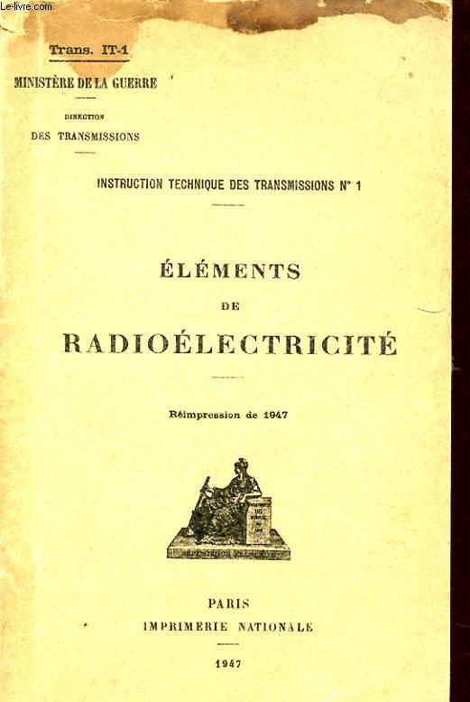 INSTRUCTION TECHNIQUE DES TRANSMISSIONS N°1 : ELEMENTS DE RADIOELECTRICITE