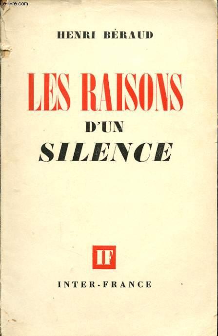 LES RAISONS D UN SILENCE