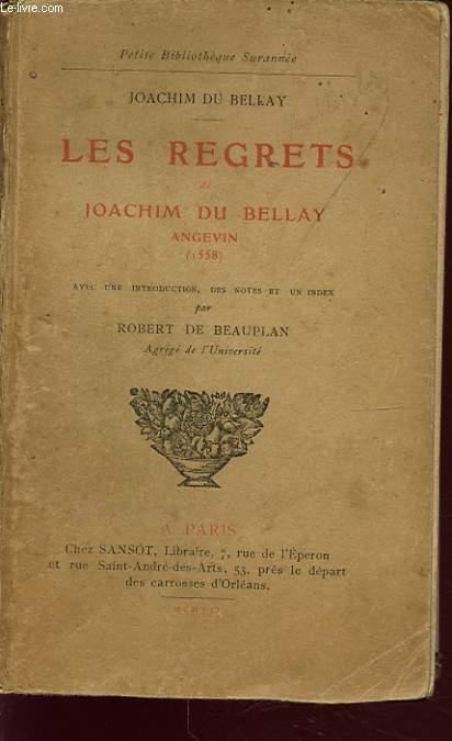 LES REGRETS DE JOACHIM DU BELLAY ANGEVIN 1558