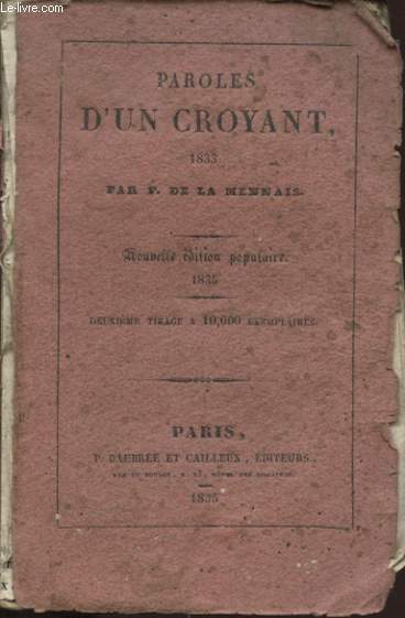 PAROLES D UN CROYANT 1833