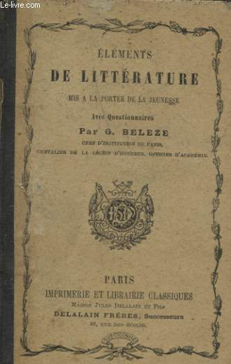ELEMENTS DE LITTERATURE