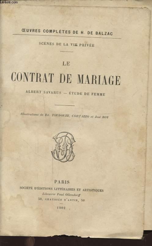 LE CONTRAT DE MARIAGE ALBERT SAVARUS
