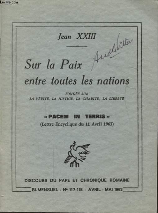 SUR LA PAIX ENTRE TOUTES LES NATIONS