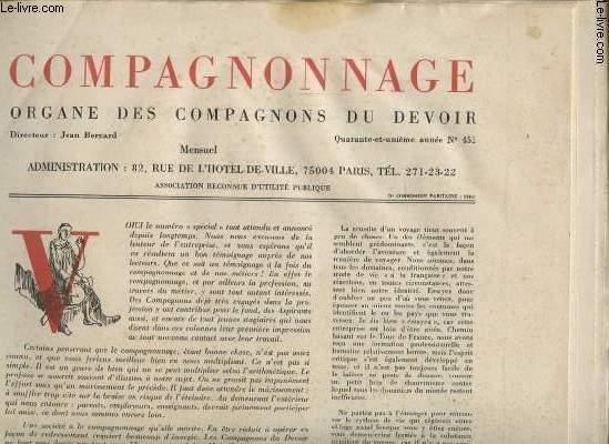 COMPAGNONNAGE N°451 : COMPAGNONNAGE ET METIER SUR LES CHEMIN DE L EUROPE - LES BOULANGER - LE CARROSSIER -  LE CHARPENTIER - APPRENTIS ET OUVRIER SUR LES CHANTIER - CHAUDRONNIER....