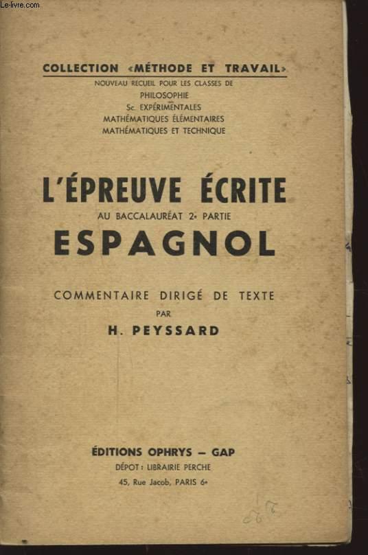L EPREUVE ECRITE AU BACCALAUREAT 2e PARTIE ESPAGNOL