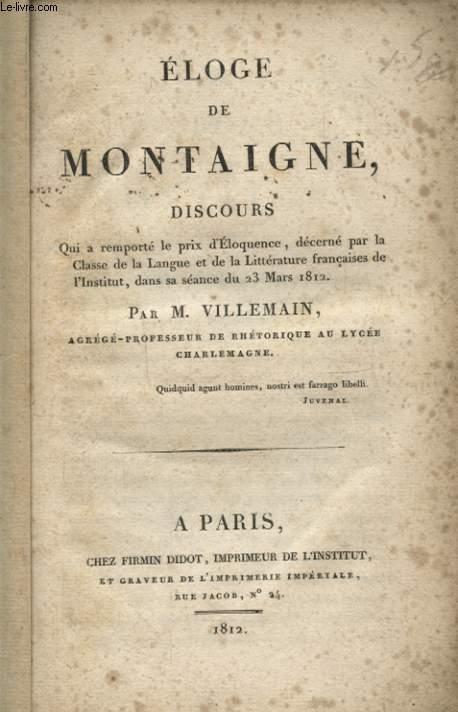ELOGE DE MONTAIGNE DISCOURS
