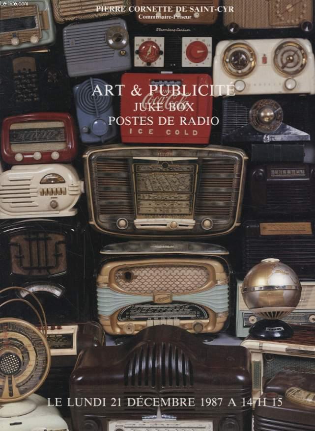 ART ET PUBLICITE JUKE BOX POSTE DE RADIO