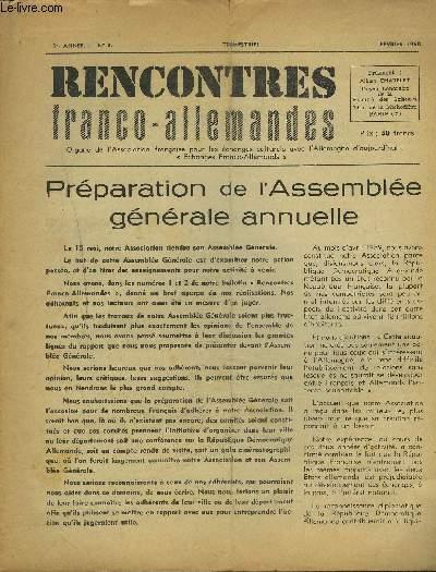 RENCONTRES FRANCO-ALLEMANDES - N°3 / 1° ANNEE FEVRIER 1960 : Préparation de l'Assemblée générale annuelle.