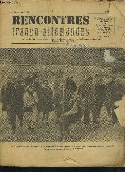 RENCONTRES FRANCO-ALLEMANDES - N°26 / 6° ANNEE AVRIL 1964 : APRES LA RECONNAISSANCE DE LA CHINE POPULAIRE POURQUOI PAS LA R.D.A. ? + UN CHEMINOT ARLESIEN EN R.D.A. + REALISME POLITIQUE ET REALISME.