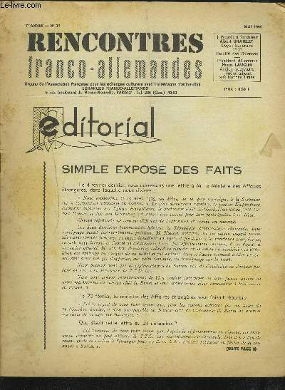 RENCONTRES FRANCO-ALLEMANDES - N°34 / 7° ANNEE MAI 1965 : SIMPLE EXPOSE DES FAITS + LE 800° ANNIVERSAIRE DE LA FOIRE DE LEIPZIG A PARIS + UN ANNIVERSAIRE D'IMPORTANCE A LEIPZIG + LES ARTISTES DE R.D.A. EN FRANCE + LA SAVIEZ-VOUS ?...ETC.