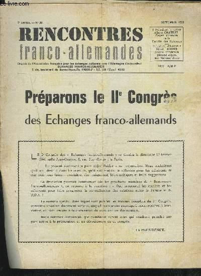RENCONTRES FRANCO-ALLEMANDES - N°36 / 7° ANNEE SEPTEMBRE 1965 : PREPAROBS LE II° CONGRES DES ECHANGES FRANCO-ALLEMANDS...ETC.