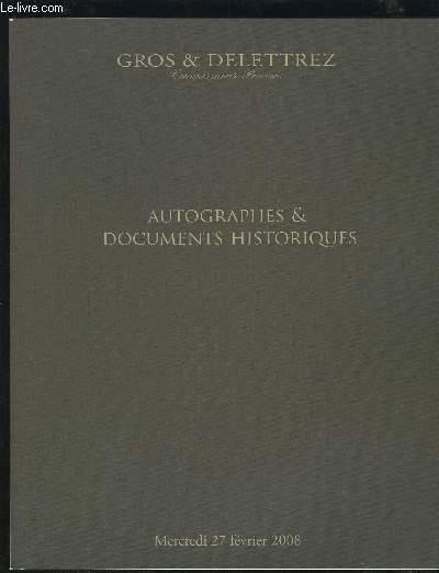 CATALOGUE DE VENTE AUX ENCHERES - AUTOGRAPHES & DOCUMENTS HISTORIQUES - MERCREDI 27 FEVRIER 2008.