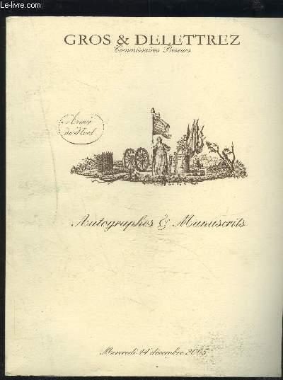 CATALOGUE DE VENTE AUX ENCHERES - AUTOGRAPHES & MANUSCRITS - DROUOT - MERCREDI 14 DECEMBRE 2005.