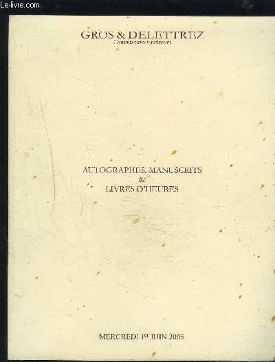 CATALOGUE DE VENTE AUX ENCHERES - AUTOGRAPHES, MANUSCRITS & LIVRES D'HEURES - MERCREDI 1er JUIN.