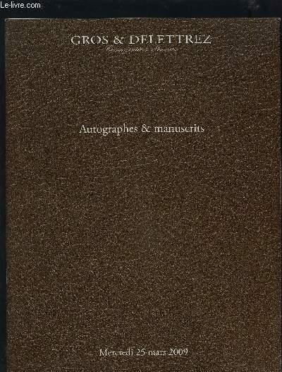 CATALOGUE DE VENTE AUX ENCHERES - AUTOGRAPHES & MANUSCRITS - MERCREDI 25 MARS 2009.