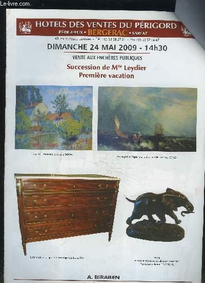 CATALOGUE DE VENTE AUX ENCHERES - DIMANCHE 24 MAI 2009 14H30 : SUCCESSION DE MLLE LEYDIER PREMIERE VACATION.