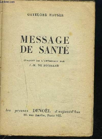 MESSAGE DE SANTE