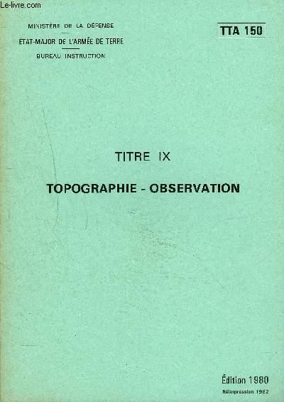 TOPOGRAPHIE OBSERVATION - TTA 150.
