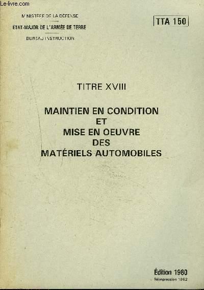 MAINTIEN EN CONDITION ET MISE EN OEUVRE DES MATERIELS AUTOMOBILES - TTA 150.
