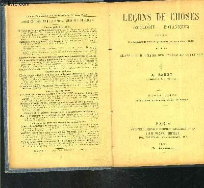 LECONS DE CHOSES- BOTANIQUE ZOOLOGIE- CLASSE DE HUITIEME- I. ANIMAUX- II. VEGETAUX