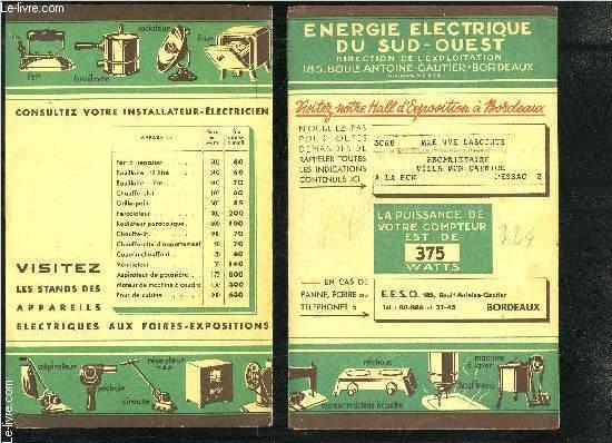2 PLAQUETTES ENERGIE ELECTRIQUE DU SUD OUEST BORDEAUX