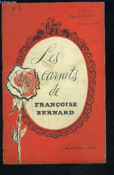 LES CARNETS DE FRANCOISE BERNARD- Automne 1960- Mes recettes à la TV- Le goûter des enfants...