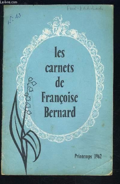 LES CARNETS DE FRANCOISE BERNARD- Printemps 1962- Madame allemande chez elle- Menus de réceptions pour 12 personnes...