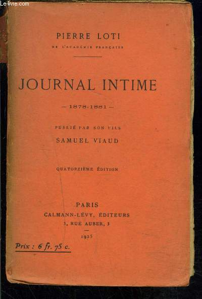 JOURNAL INTIME 1878-1881