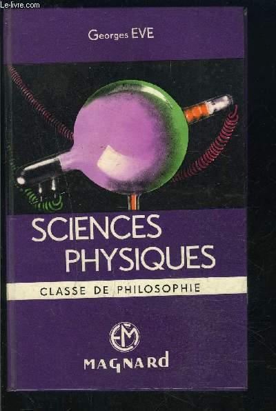 SCIENCES PHYSIQUES- CLASSE DE PHILOSOPHIE
