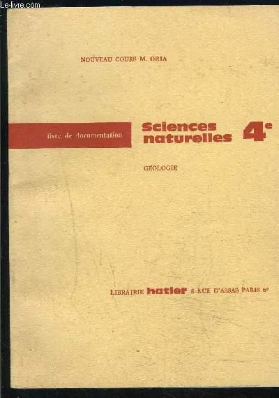 SCIENCES NATURELLES 4e- GEOLOGIE- LIVRE DE DOCUMENTATION