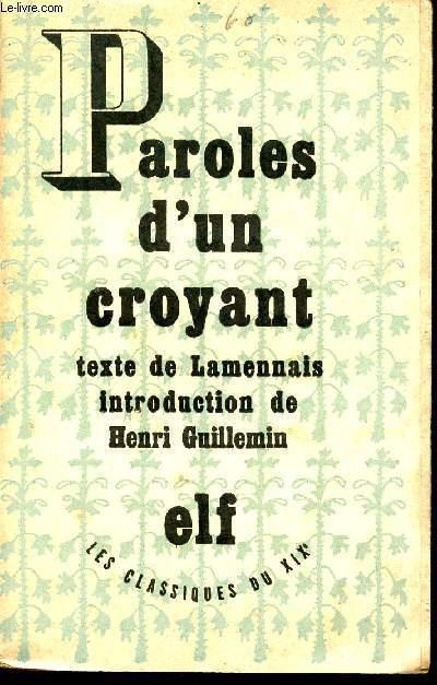 PAROLES D'UN CROYANT