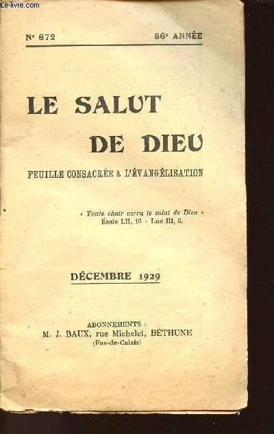 FASCICULE N° 672 - 56e ANNEE - LE SALUT DE DIEU - FEUILLE CONSACREE A L'EVANGELISATION DECEMBRE 1929