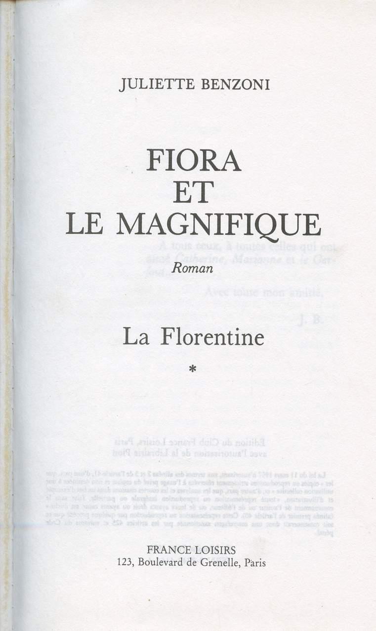 FIORA ET LE MAGNIFIQUE - LA FLORENTINE