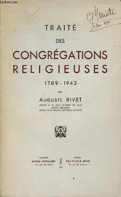 TRAITE DES CONGREGATIONS RELIGIEUSES 1789-1943