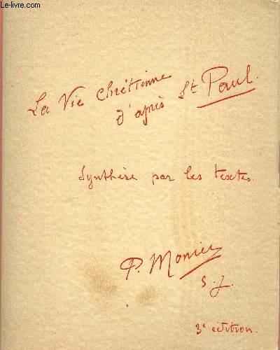 LA VIE CHRETIENNE D'APRES SAINT PAUL - SYNTHESE PAR LES TEXTES