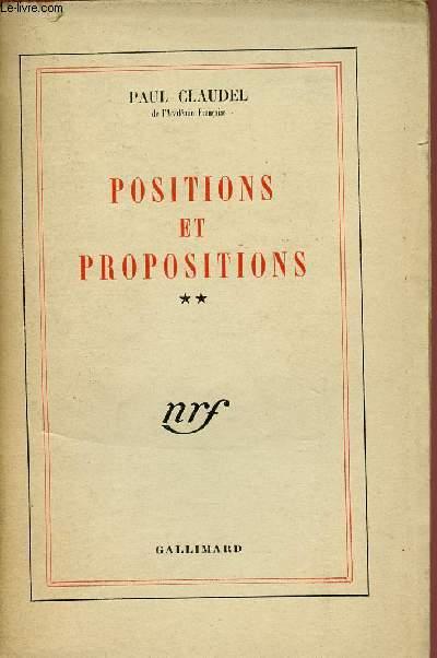 POSITIONS ET PROPOSITIONS -TOME 2 - VOLUME 2 :