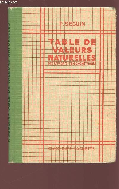 TABLE DE VALEURS NATURELLES DES RAPPORTS TRIGONOMETRIQUES