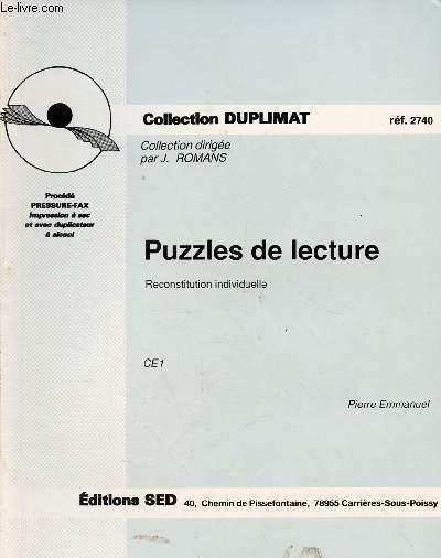 PUZZLES DE LECTURE : RECONSTITUTION INDIVIDUELLE CE1