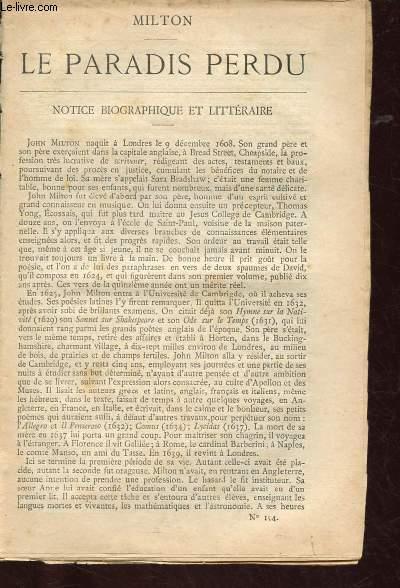 BIBLIOTHEQUE POPULAIRE N°154 : LE PARADIS PERDU  + Notice biographique et littéraire