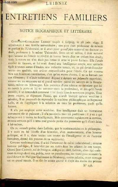 BIBLIOTHEQUE POPULAIRE N°158 : ENTRETIENS FAMILIERS, Dialogues entre Théophile et Philatète,pensées choisies