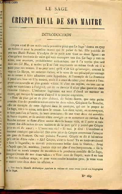 BIBLIOTHEQUE POPULAIRE N°189 : CRISPIN RIVAL DE SON MAITRE
